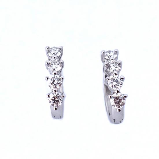 Citigems 10K White Gold Eternity 8 Diamond Earrings
