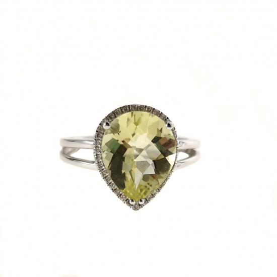 Citigems White Gold Lemon Quartz Diamond Ring
