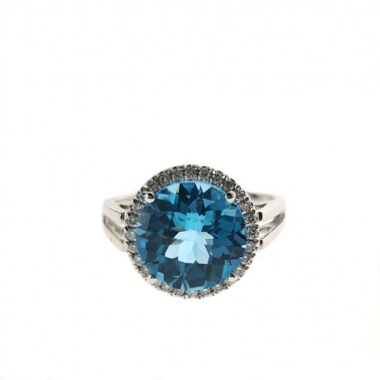 Citigems White Gold Blue Topaz Diamond Ring