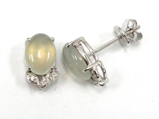 Citigems 18K White Gold Jadeite A Earrings