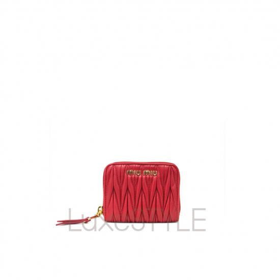 Miu Miu Matelasse Leather Red Mini Wallet (Pristine)