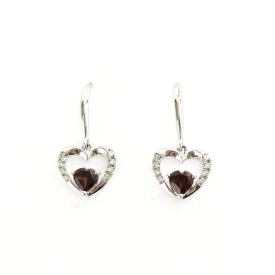 Citigems White Gold Garnet Diamond Earrings
