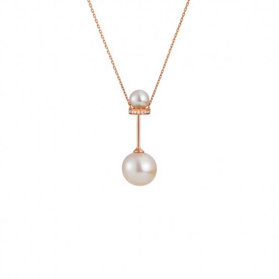 Citigems 18K Rose Gold Pearl Diamond Necklace