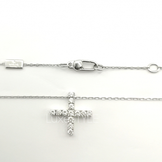 Pre-Loved Gucci Cross 18K White Gold Diamond Necklace