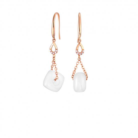 Citigems 18K Rose Gold Meliade Nephrite Earrings