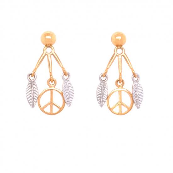 Citigems 916 Gold Peace Dream Catcher Earrings