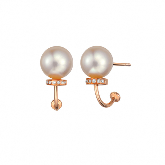 Citigems 18K Rose Gold Pearl Diamond Earrings