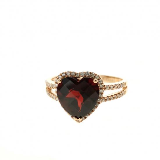 Citigems Rose Gold Red Garnet Diamond Ring