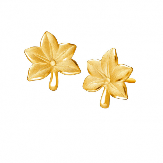 Citigems 999 Pure Gold Maple Leaf Earrings