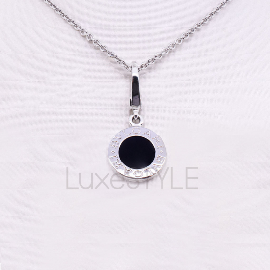 Pre-Loved Bvlgari Bvlgari 18K White Gold Onyx Charm Necklace