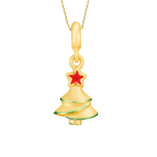 Citigems 999 Pure Gold Light Up Christmas Tree Pendant