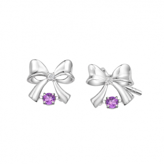 Citigems White Gold Tango Amethyst Diamond Earrings