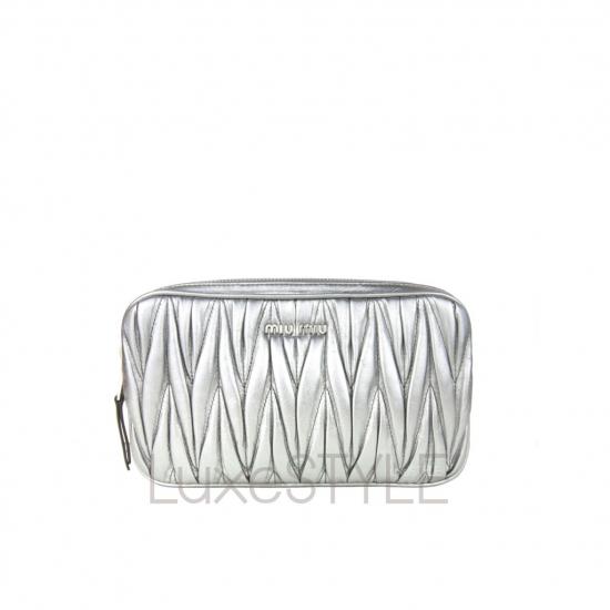 Miu Miu Matelasse Leather Silver Crossbody Bag (Unused)