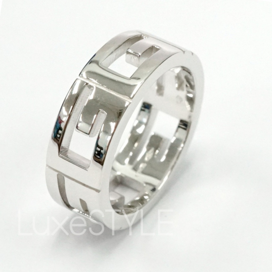 Pre-Loved Gucci G 18K White Gold Band Ring