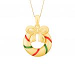Citigems 999 Pure Gold Christmas Wreath Pendant