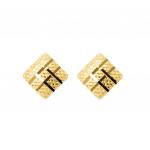 Citigems 916 Gold Square Lattice Earrings