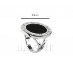 Pre-Loved Bvlgari Bvlgari Circular 18K White Gold Onyx Ring