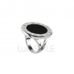 Pre-Loved Bvlgari Bvlgari Circular 18K White Gold Onyx Ring