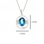 Citigems White Gold Topaz Diamond Pendant