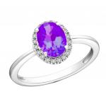 Citigems White Gold Amethyst Diamond Ring