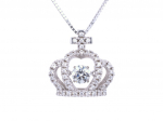Citigems Silver Dancing Princess Crown Pendant with FREE Chain