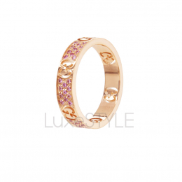 Pre-Loved Gucci Icon 18K Rose Gold Pink Sapphire Ring