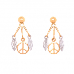 Citigems 916 Gold Peace Dream Catcher Earrings