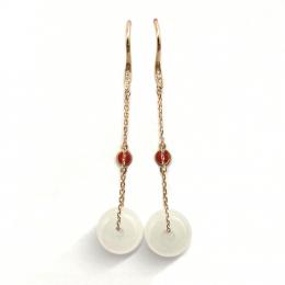 Citigems 18K Rose Gold Nephrite Earrings 92594