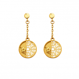 Citigems 999 Pure Gold Oriental Bloom Round Earrings