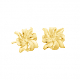 Citigems 999 Pure Gold Flower Ribbon Earrings