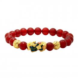Citigems 999 Pure Gold Agate Pixiu Bracelet