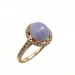 Citigems 18K Rose Gold Lavender Jadeite A Diamond Ring