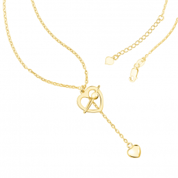 Citigems 916 Gold Cupid's Love Arrow Heart Necklace