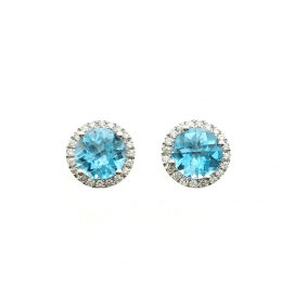 Citigems White Gold Blue Topaz Earrings