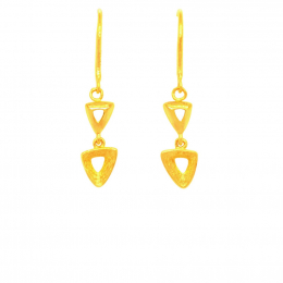 Citigems 999 Pure Gold Dangling Triangle Earrings