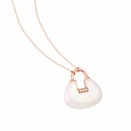 Citigems 18K Rose Gold Charm Lock Nephrite Necklace
