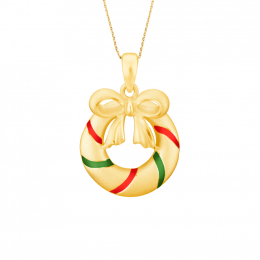 Citigems 999 Pure Gold Christmas Wreath Pendant