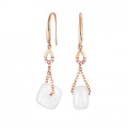 Citigems 18K Rose Gold Nephrite Earrings 92597