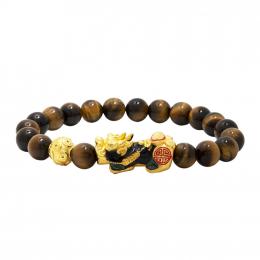 Citigems 999 Pure Gold Tiger Eye Pixiu Bracelet