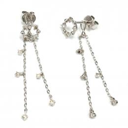 Citigems 14K White Gold Seoul Style Earrings