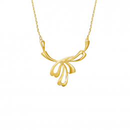 Citigems 999 Pure Gold Abstract Hearty Leaf Necklace