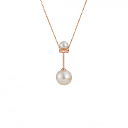 Citigems 18K Rose Gold Perle Barbell Necklace