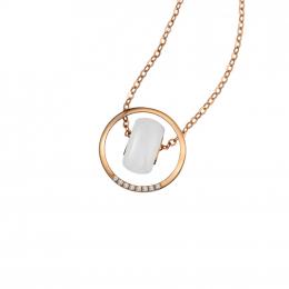 Citigems 18K Rose Gold Selene Nephrite Diamond Necklace