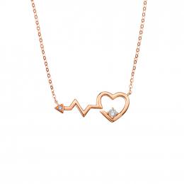 Citigems 18K Rose Gold Heartbeat Diamond Necklace