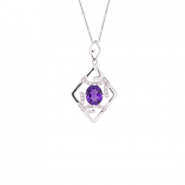 Citigems White Gold Amethyst Diamond Pendant