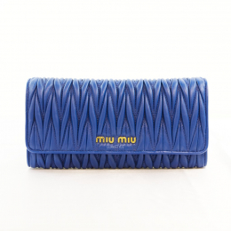 Miu Miu Continental Matelasse Leather Blue Long Wallet with Cardholder