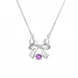 Citigems White Gold Tango Amethyst Diamond Necklace