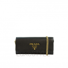Prada Saffiano Leather Black Wallet On Chain