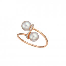 Citigems 18K Rose Gold Pearl Diamond Ring