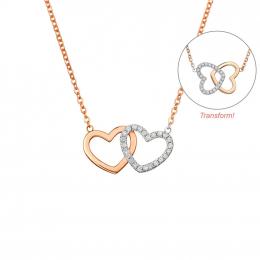 Citigems 18K Rose Gold Butterfly Heart Diamond Necklace